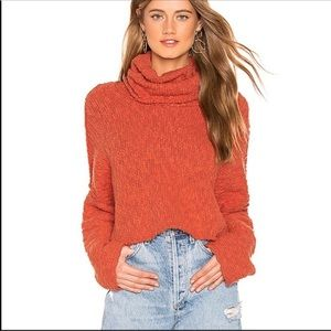 Free People cowl neck coral chunky sweater